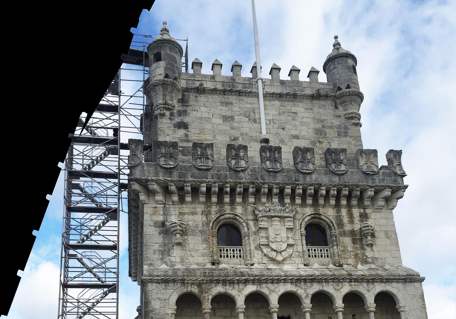 Torre de andaime escada ZZ paralela para acesso á cobertura